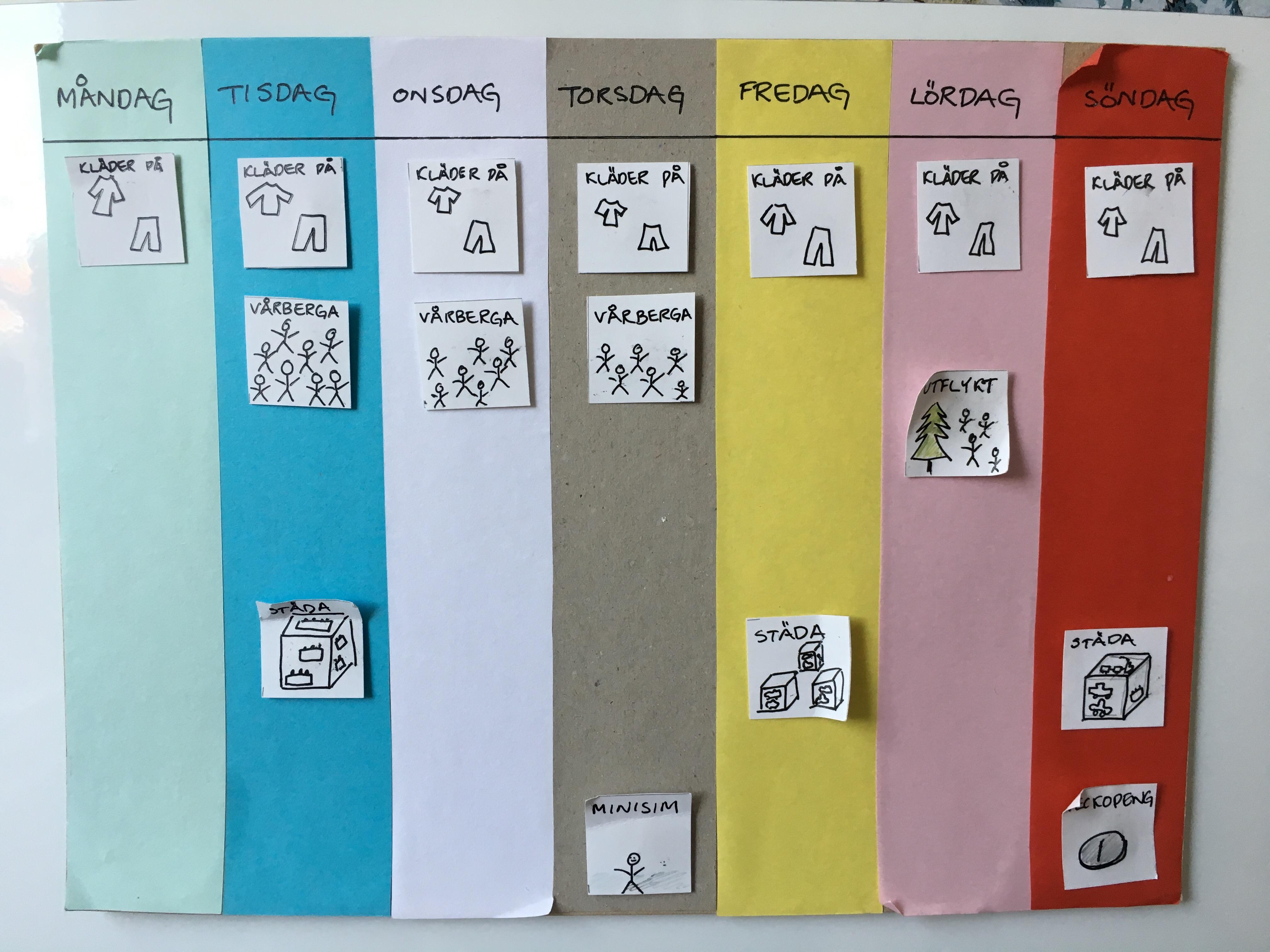 Veckoschema I Färg Utebarnse